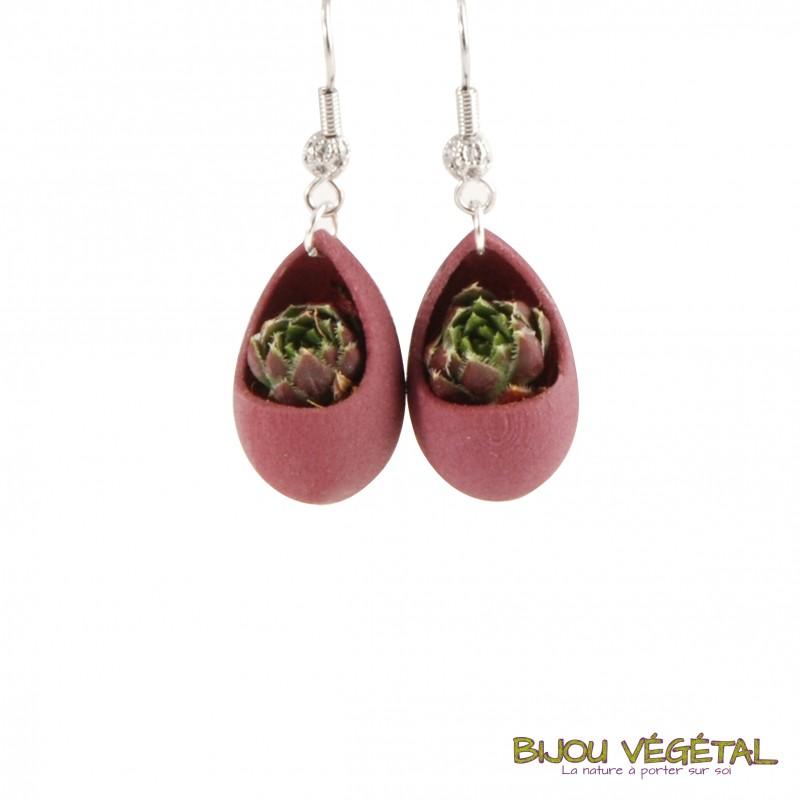boucles d 39 oreille forme goutte avec plante bijou v g tal. Black Bedroom Furniture Sets. Home Design Ideas