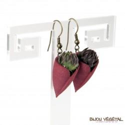 Boucles d'oreille Tulipe Chocolat plante