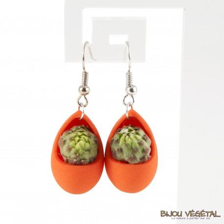 Boucles d'oreille goutte mandarine végétal