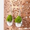 Boucles d'oreille Goutte argent avec lichen