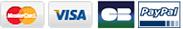 Mastercard, Visa, CB, Paypal, Chèque