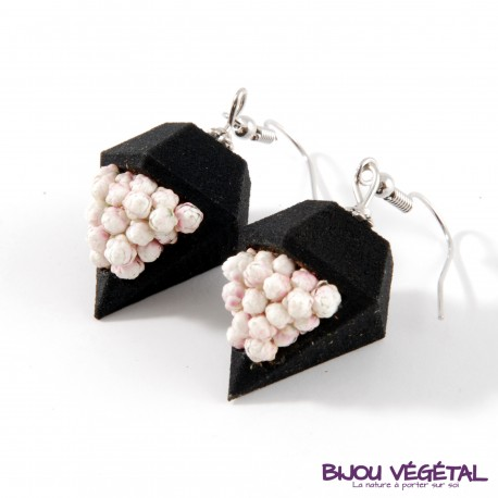 Boucles d'oreille diamant poirier noire avec lichen avec végétal