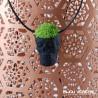 Collier composite  amphore bordeau avec végétal