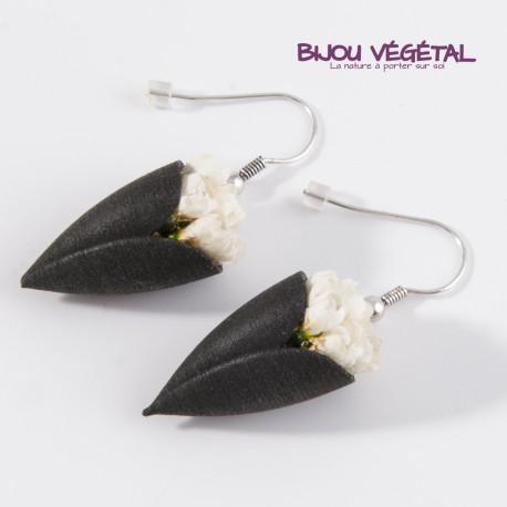 Boucles d'oreille Tulipe noire et mini-roses sans entretien