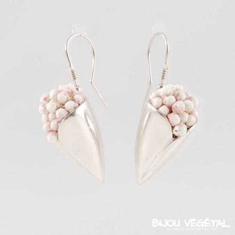 Boucles d'oreille tulipe argent avec petites fleurs blanches permanentes
