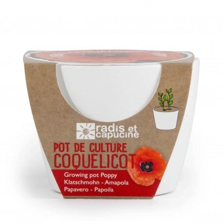 Pot céramique blanc 8 cm Coquelicot
