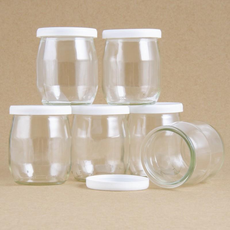 lot de 6 pots de yaourts en verre. Black Bedroom Furniture Sets. Home Design Ideas