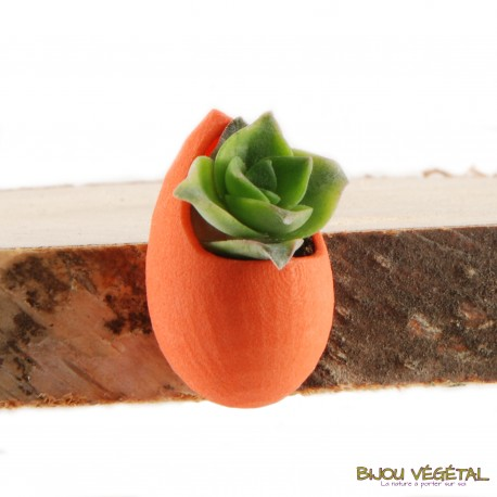 Broche Goutte Mandarine avec plante