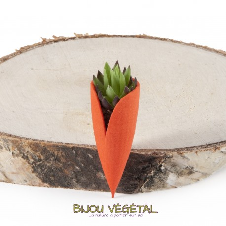 Broche Tulipe mandarine avec plante