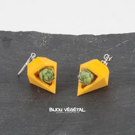 Boucles d'oreille diamant poirier orange avec végétal