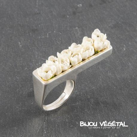 Bague Prestige argent Jardinière avec mini-roses blanches