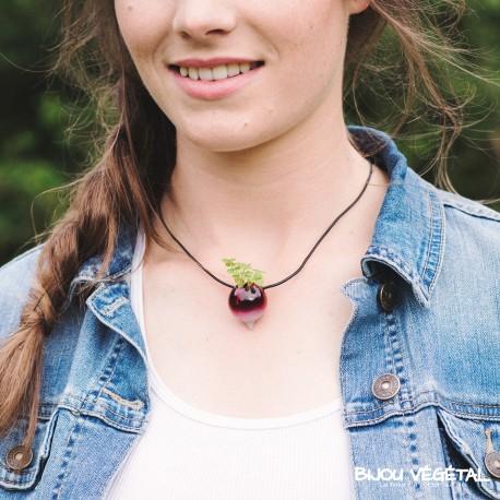 Collier et pendentif verre Radis peint avec végétal